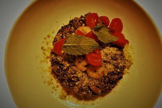 riso venere con gamberi curry e zucchine